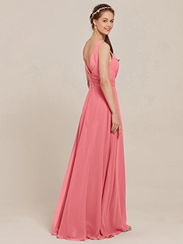 Bridesmaid Dress Evening AWEI Coral Pink Chiffon Formal Long Party Women's Pleated Dresses Dress Prom 0xYwEq