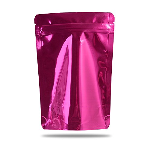 - 100 Pieces Aluminum Mylar Foil Stand Up Ziplock Pouches Double Side Colored Heavy Duty Reusable Ziplock Bags High Premium Food Tea Bait Packaging (Pink, 16x24cm (6.2x9.4