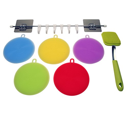 VA 7 Pack Multipurpose Kitchen Silicone Sponge Scrubber with FREE Hook Rail & FREE Handled scrubber for Dishwashing, Cleaning,Fruit & Veg Washer, antibacterial, non-stick Hot Plates,Food (Handled Rail Brush)