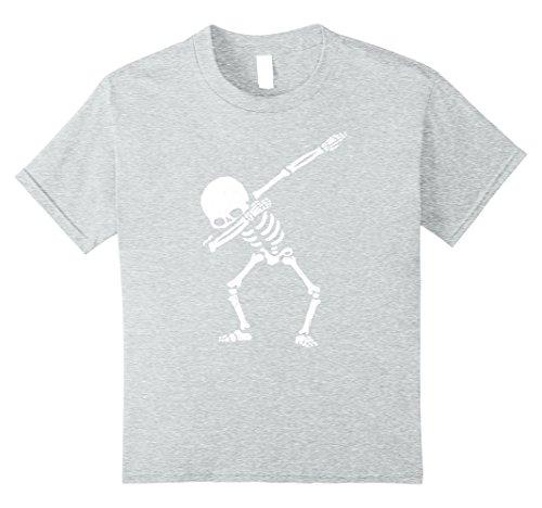 [Kids Dabbing Skeleton Shirt Dab Hip Hop Skull Shirts 10 Heather Grey] (Skeleton Costume Pose)