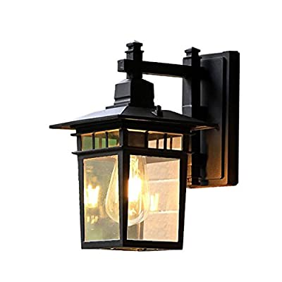 "ATC 11"" High Black Retro Aluminum Frame Outdoor Waterproof Rectangle Glass Box Single Light Wall Light Lamp Vintage Industrial Illumination Wall Sconce Fixtures"