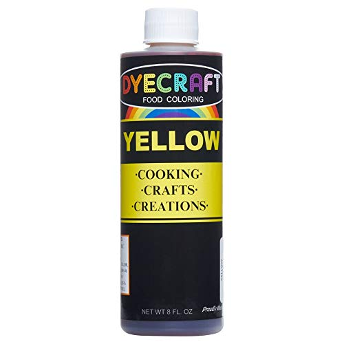 DyeCraft Yellow Food Coloring (LARGE 8 oz Bottle) Odorless, Tasteless,  Edible - Perfect for Baking, Cooking, Arts & Crafts, Decorations and More
