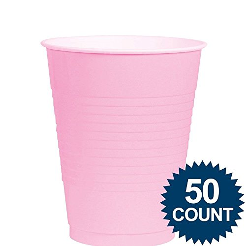 Amscan (AMSDD) Reusable   Plastic Cups Big Bundle Party Tableware, New Pink, 16oz., Pack of 50 by Amscan (Image #1)