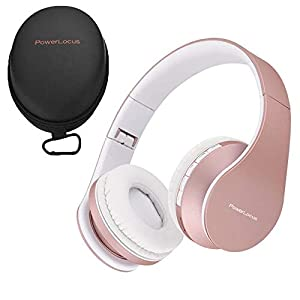 PowerLocus Wireless Bluetooth Over-Ear Stereo Foldable Headphones, Wired Headsets Rechargeable with Built-in Microphone…