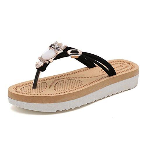 Transer 2016 1Pair Las mujeres del verano de la manera zapatos planos sandalias de los fracasos de tirón de los holgazanes Bohemia Negro
