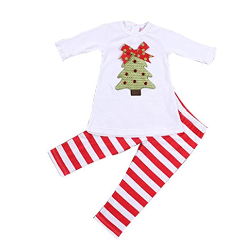 Price comparison product image OVERMAL 1Set Kids Girls Christmas Trees T-shirt Tops+Pants Outfits Clothes (3T)
