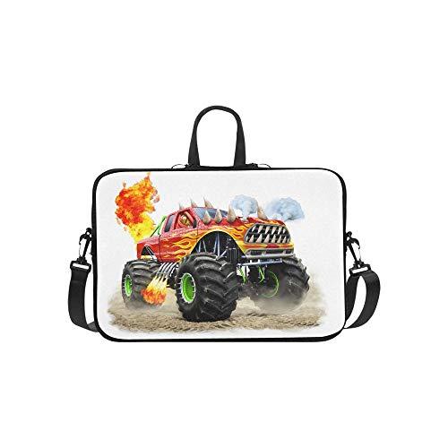 Cartoon Monster Truck Pattern Briefcase Laptop Bag Messenger Shoulder Work Bag Crossbody Handbag for Business Travelling