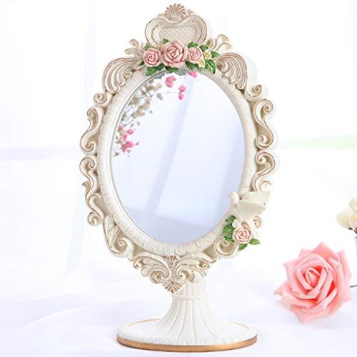 European mirror/Creative Princess Mirror/Desktop vanity mirror/Portable HD Cosmetic Resin Benchtop Single Face Beauty Salon Mirror