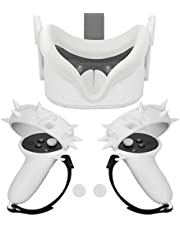 Esimen Grip Cover Face Silicone Cover for Oculus Quest 2 Knuckle Strap Set, Premium Silicone Protective Accessories Anti-Throw Sweatproof Lightproof – 3 Pack (White)