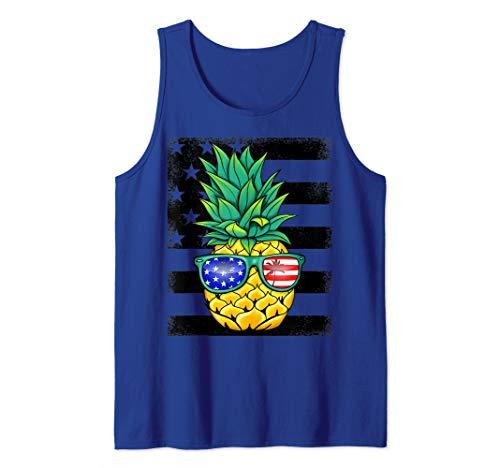 Tropical Hawaiian Pineapple American Flag Sunglasses Tank Top