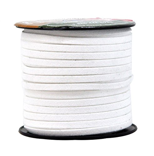 Mandala Crafts 50 Yards 5mm Wide Jewelry Making Flat Micro Fiber Lace Faux Suede Leather Cord (5mm, White)