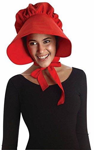 [Red Pilgrim Lady Bonnet Colonial Quaker Hat Cap Adult Costume Accessory] (Quaker Costumes)