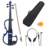 Cecilio L1/2CEVN-L2BL Left-Handed Solid Wood Blue Metallic Electric Violin with Ebony Fittings in Style 2