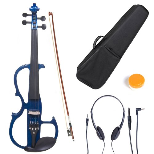 Cecilio L4/4CEVN-L2BL Left-Handed Solid Wood Blue Metallic Electric Violin with Ebony Fittings in Style 2 (Full Size) by Cecilio