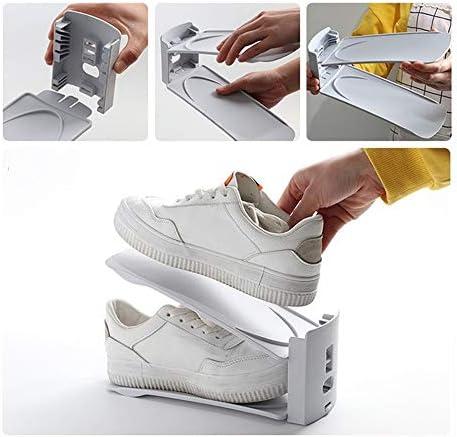 調節可能な靴スロットオーガナイザー、6PCSダブルレイヤースタックシューズラック、家庭用耐久性のある靴収納、省スペース、ライトグレー