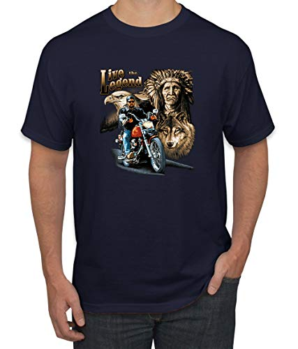 Ride The Legend | Motorcycle USA Wolf | Mens American Pride Graphic T-Shirt, Navy, X-Large
