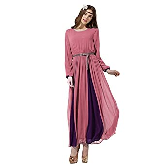 ROMANTIC BEAR Islamic Chiffon Dress Kaftan Muslim Women Cocktail Party Dress