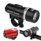 BlueSunshine 1 Pair Bike Bicycle Light Set Super Bright 5 LED Headlight, 5 LED Taillight