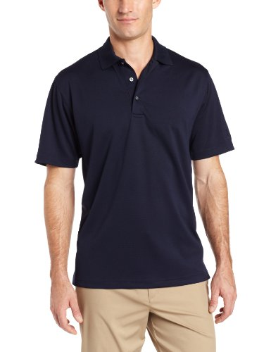 picture of PGA TOUR Men's Golf Air Flux Short Sleeve Solid Polo Shirt, True Navy Blue, Medium