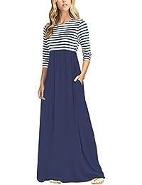 Women's Striped Scoop Neck 3/4 Sleeve Casual Maxi Dress...