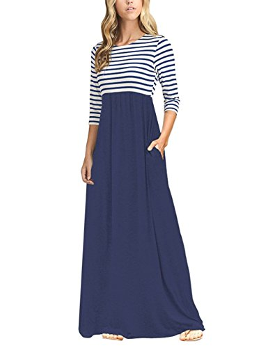 MEROKEETY Women's Striped Scoop Neck 3/4 Sleeve Casual Maxi Dress With Side Pockets