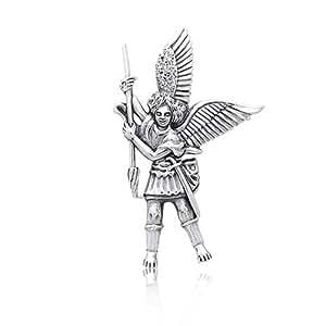 Bling Jewelry Ángel de la Guarda Plata Esterlina an Miguel Arcángel colgante