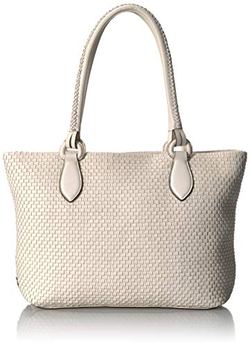 Cole Haan Women's Bethany Woven Leather Zip Tote, ivory