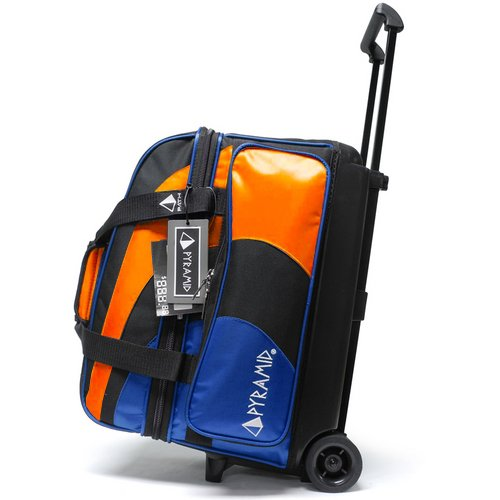 Pyramid Path Deluxe Double Roller Bowling Bag (Royal Blue/Orange) (2 Shoes Bowling)