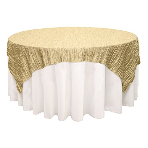 Your Chair Covers - 90 inches x 90 inches Square Crinkle Taffeta Table Overlays Champagne