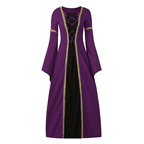 Adult Masquerade Queen Costumes (Women's Medieval Dress Halloween Cosplay Costume Lace Up Vintage Floor Length Retro Long Dress (L, B-purple+black))