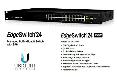 Ubiquiti Edgeswitch Es. 24. 500W Layer 3 Switch . 24 Ports . Manageable . 24 X Poe+ . 2 X Expansion Slots . 10/100/1000Base. T, 1000Base. X . Rack. Mountable ''Product Type: Routing/Switching Devices/Switches & Bridges'' by OEM (Image #1)