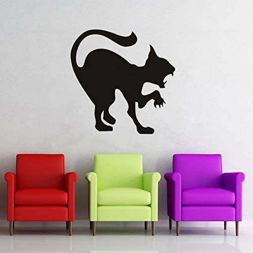 yrxh Wall Sticker Black Cat Wall Stickers,Halloween Plane Cartoon Window Glass Stickers,Hot Children Vinyl Home Decor Scary Cat Stencil Decals59X59Cm