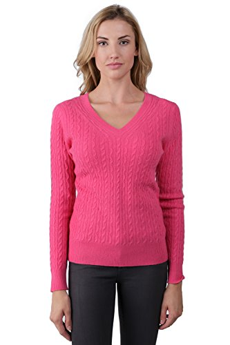 J CASHMERE Womens 100% Cashmere Long Sleeve Pullover Cable-knit V-neck Sweater Hot Pink Small