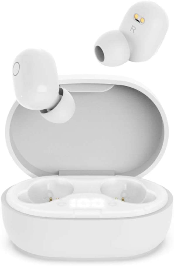 Auriculares Inalambricos, QueenDer Auriculares Bluetooth Deep Bass Estéreo Mini Twins In Ear con Micrófono Cancelación de Ruido Deportivos Type C, Pantalla LED y Control Táctil para iOS Android
