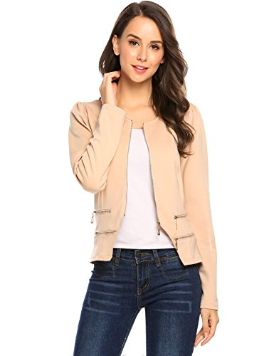 Round Collar Womens Coat - Zeagoo Women's Casual Zipper Cardigan Blazer O Neck Slim Fitted Office Jacket (XL, Beige)