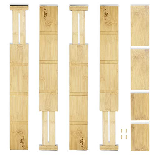 One Cottage Kitchen Drawer Dividers – Adjustable & Expandable Bamboo Organizer for Flatware, Silverware & Utensils…