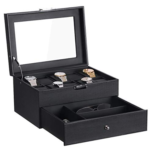 BEWISHOME Watch Box Organizer with Valet Drawer - Real Glass Top, Metal Hinge, Large Holder, Black Carbon Fiber Faux Leather - 10 Slots Watch Storage Case Jewelry Box for Men SSH14C from BEWISHOME