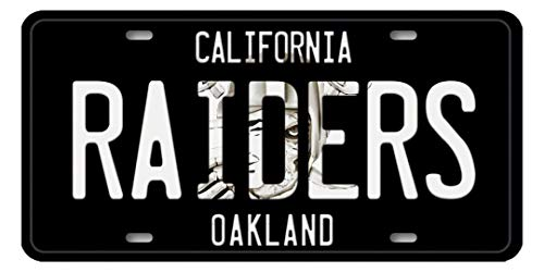Voss Collectables California Oakland Raiders NFL Football Team Aluminum Vanity License Plate Tag Black with Logo