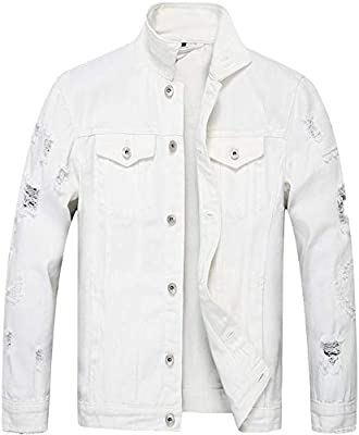 Hotmiss Jean Jacket for Men Classic Motorcycle Ripped Slim Denim Jacket with Holes