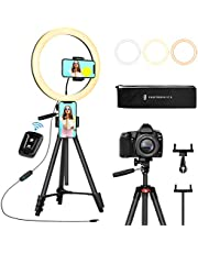 "$49 » TaoTronics 12"" Selfie Ring Light with 3 Color Modes, 10 Adjustable Brightness, 61"" Extendable Tripod Stand, 2 Phone Holders, Bluetooth Remote Shutter for Photography/Makeup/Live Stream/YouTube/Vlogs"
