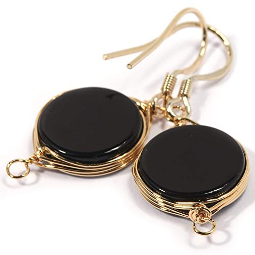 Natural Stone Wire Wrap Dangle Drop Earrings Gold Plated 925 Sterling Silver Hook/Black Onyx Round 10mm
