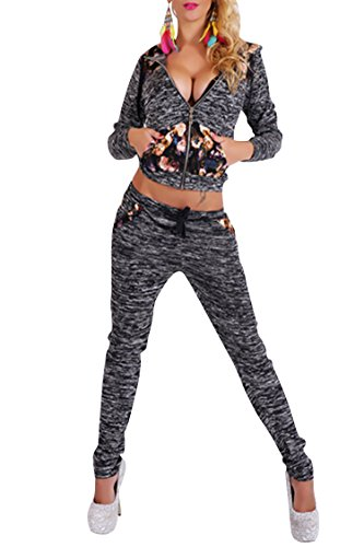 VamJump Women Zipper Long Sleeve Hoodies Sport Two Piece Outfits Pants S Black
