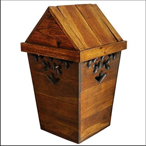 ゴミ袋 ゴミ箱用アクセサリ 中国の木製のゴミ箱クリエイティブレトロ大型スクエア収納ボックスリビングルームダイニングルームホテルのゴミ箱 キッチンゴミ箱