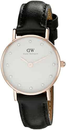 Daniel Wellington Women's 0901DW Sheffield Analog Quartz Black Leather Watch