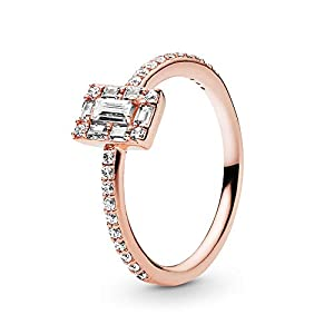 Pandora Jewelry Sparkling Square Halo Ring Cubic Zirconia Ring in Pandora Rose, Size 6