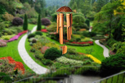 VIE Naturals Hand Made Bamboo Wind Chimes Total Hanging Height 60cm. Small-25cm Set OF 2