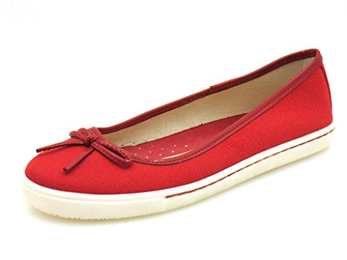 Via Uno Rouge Ballerines en toile Retro Chaussures dété femmes 20840201