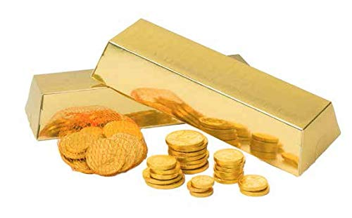 (Fort Knox Gold Foiled Milk Chocolate Coins in Gold Bar Gift Box )