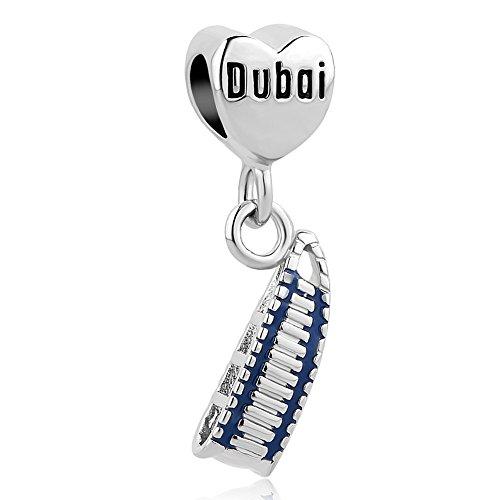 (LovelyCharms Dubai Burj Al Arab Sailing Hotel Building Travel Landmark Series Charm Beads for European Bracelets)