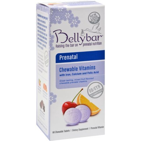 Chewable Fruit Flavor - Bellybar Chewable Prenatal Vitamins, Mixed Fruit Flavor, 60-Count (2 Pack)